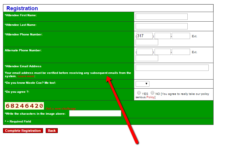 Registration page verification email mention